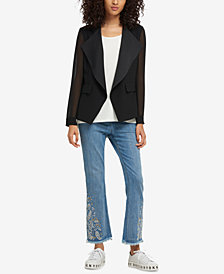 DKNY Draped Illusion-Sleeve Blazer, Created for Macy's