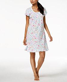 Miss Elaine Wildflower-Print Knit Nightgown