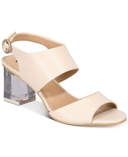 DKNY Sterling Lucite-Heel Sandals, Created for Macy's