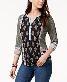 Style & Co Mixed-Print Tab-Sleeve Henley, Created for Macy's