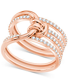 Swarovski Crystal Knot Multi-Row Ring