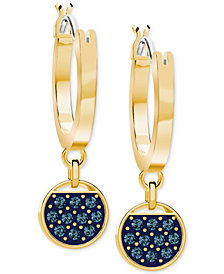 Swarovski Two-Tone Crystal Hoop & Disc Drop Earrings