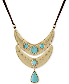 """Lucky Brand Gold-Tone Colored Stone Reversible Leather 36"""" Pendant Necklace"""