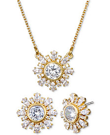 "Jewel Badgley Mischka Crystal Flower 16"" Pendant Necklace & Stud Earrings Set"