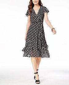 MICHAEL Michael Kors Petite Dot-Print Wrap Dress
