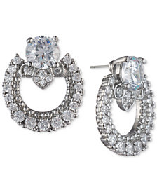 Marchesa Silver-Tone Cubic Zirconia  Link Button Earrings, Created for Macy's