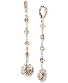 Givenchy Crystal Flower Linear Drop Earrings