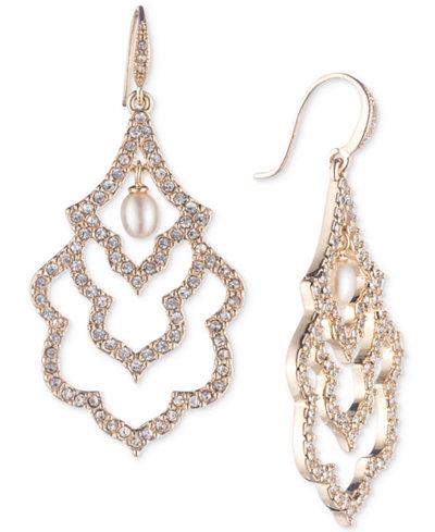 Carolee Gold-Tone Pavé & Imitation Pearl Scalloped Drop Earrings