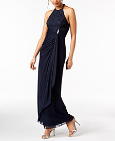 B&A by Betsy & Adam Ruched Sequined-Lace Halter Gown