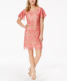 Taylor Floral-Embroidered-Mesh Shift Dress