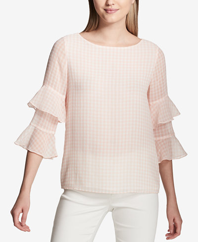 Calvin Klein Gingham Tiered-Sleeve Top