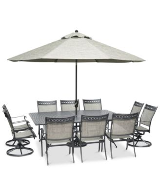 "Vintage II Outdoor Aluminum 11-Pc. Dining Set (84"" x 60"" Dining Table, 6 Dining Chairs & 4 Swivel Rockers), Created for Macy's"