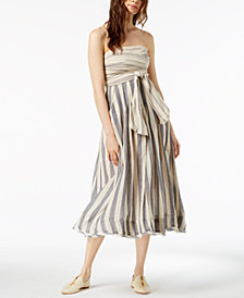Free People Stripe Me Up Cotton Strapless Midi Dress