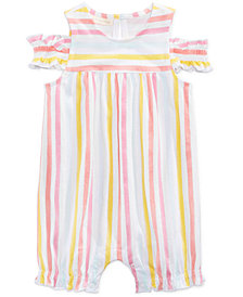 First Impressions Watercolor Striped Romper, Baby Girls, Created for Macy's