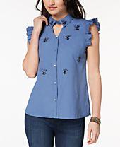 XOXO Juniors' Cotton Embellished Shirt