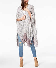 American Rag Juniors' Floral-Print Open-Front Kimono, Created for Macy's