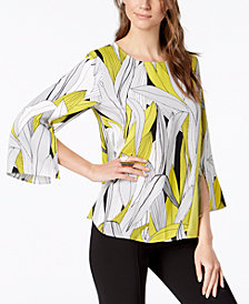 Alfani Printed Split-Sleeve Top, Created for Macys
