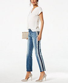 I.N.C. Inverted-Pleat V-Neck Top & Two-Tone Jeans