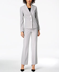 Le Suit Striped Seersucker Pantsuit