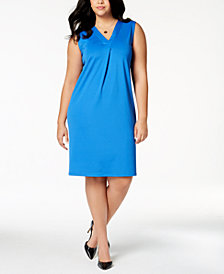 Kasper Plus Size Pleated Sheath Dress