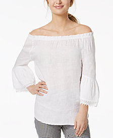 Charter Club Linen Off-The-Shoulder Top, Created for Macy's