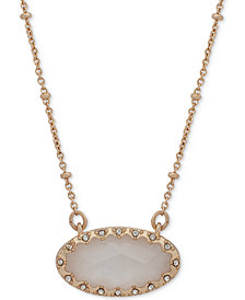 "lonna & lilly Gold-Tone Pavé & Oval Stone Beaded Pendant Necklace, 16"" + 3"" extender, Created for Macy's"