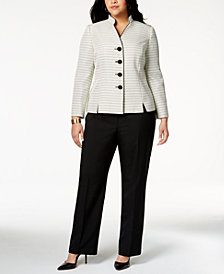 Le Suit Plus Size Tweed-Blazer Pantsuit