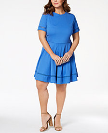 City Studios Trendy Plus Size Textured Fit & Flare Dress