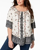 Style & Co Plus Size Off-The-Shoulder Mixed-Print Peasant Top Created for Macys