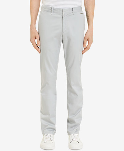 Calvin Klein Men's Flat-Front Sateen Pants