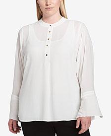 Calvin Klein Plus Size Bell-Sleeve Blouse