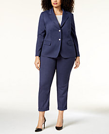 Tahari ASL Plus Size Two-Button Denim Pantsuit