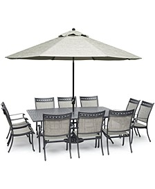 "Vintage II Outdoor Cast Aluminum 11-Pc. Dining Set (84"" x 60"" Table & 10 Sling Dining Chairs), Created for Macy's"