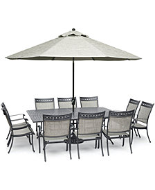 "Vintage II Outdoor Aluminum 11-Pc. Dining Set (84"" x 60"" Dining Table & 10 Dining Chairs), Created for Macy's"