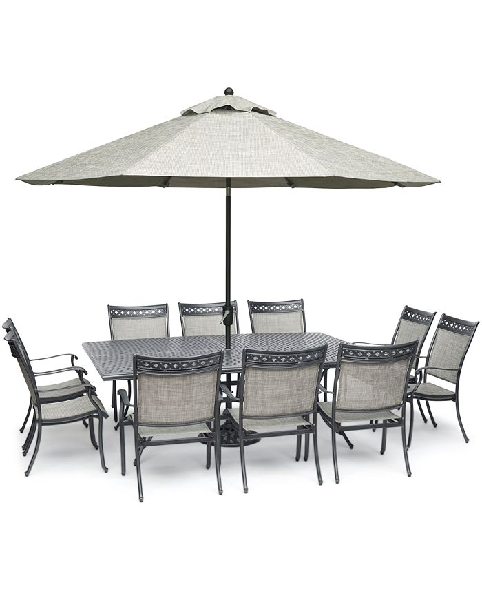 """Furniture - Vintage II Outdoor Cast Aluminum 11-Pc. Dining Set (84"""" x 60"""" Table & 10 Sling Dining Chairs), Created for Macy's"""