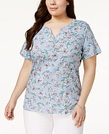 Karen Scott Plus Size Printed Short-Sleeve Henley Top, Created for Macy's