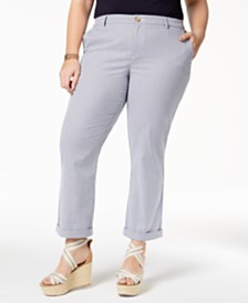 Tommy Hilfiger Plus Size Pinstripe Ankle Pants, Created for Macy's
