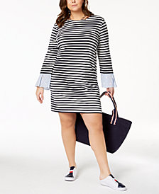 Tommy Hilfiger Plus Size Eyelet-Trim Dress, Created for Macy's