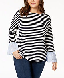 Tommy Hilfiger Plus Size Eyelet-Trim Top, Created for Macy's
