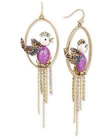 Betsey Johnson Gold-Tone Multi-Stone Bird Orbital & Chain Fringe Drop Earrings
