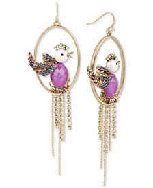 Betsey Johnson Gold-Tone Multi-Stone Bird Orbital & Chain Fringe Drop Earrings