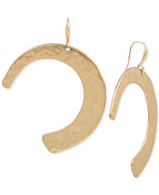 Robert Lee Morris Soho Gold-Tone Hammered Curve Drop Earrings