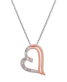 "Diamond Heart 18"" Pendant Necklace (1/10 ct. t.w.) in Sterling Silver & 18k Rose Gold-Plate"