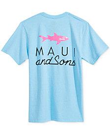 Maui and Sons Men's Straight Shark Logo-Print T-Shirt