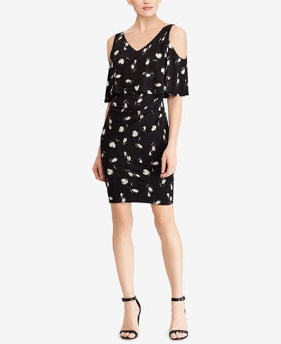 American Living Floral-Print Cold-Shoulder Popover Dress