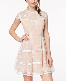 City Studios Juniors' Illusion-Lace Fit & Flare Dress