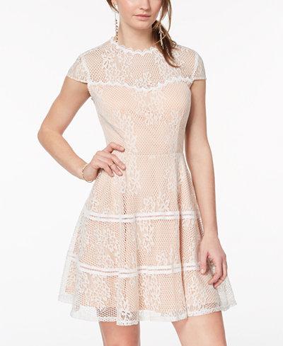 City Studios Juniors' Illusion-Lace Fit & Flare Dress