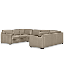 Avenell 3-Pc. Leather Pit Sectional with Sofa & Loveseat, Created for Macy's