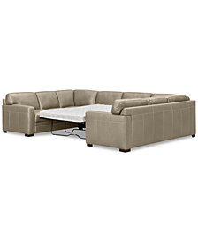 Beau Avenell 3 Pc. Leather Pit Sectional Full Sleeper, Created For Macyu0027s