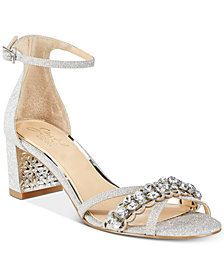 Jewel Badgley Mischka Giona Block-Heel Evening Sandals